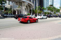 Dodge Viper Downtown Miami. Tilt-Shift photo.