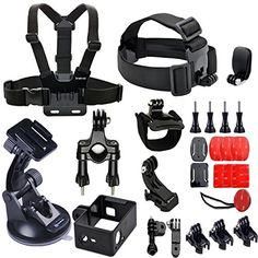 Smatree® 25-in-1 Gopro Accessories Kit for Gopro HD Hero 4/3+/3/2/1 Camera include Head Belt Strap Mount+ Chest Belt Strap Mount+Car Suction Cup Mount+ Surface J-Hook+Insert Buckle+plastic thumb screws+Cap Clip+Flat Curved Surface Mounts + 3M Adhesive+Insurance Tether+Motorcycle Bike Handlebar Seatpost Pole Mount + Three-way Adjustable Pivot Arm+ Protective Frame Housing