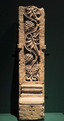 Doorpost with grapevine emerging from a chalice, Egypt, 6th-7th cent; limestone,