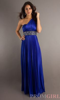 Long blue prom dress by XOXO, color blue, style XO-2133SSK1, empire waistline