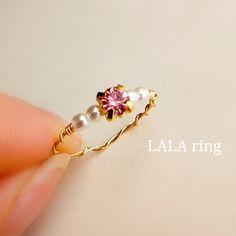 春めくピンクリング♡サイズオーダー♡華奢なワイヤーリング