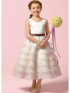Organza Ruffles Skirt Sash Taffeta Flower Girl Dress