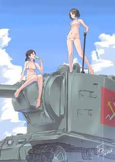 2girls alina_(girls_und_panzer) artist_name bangs bikini breasts brown_eyes brown_hair clouds cloudy_sky dated emblem food girls_und_panzer ground_vehicle highres holding kv-2 looking_at_viewer micro_bikini military military_vehicle motor_vehicle multiple_girls nenchi nina_(girls_und_panzer) open_mouth popsicle pravda_(emblem) short_hair short_twintails signature sitting sky small_breasts smile standing swimsuit tank twintails white_bikini