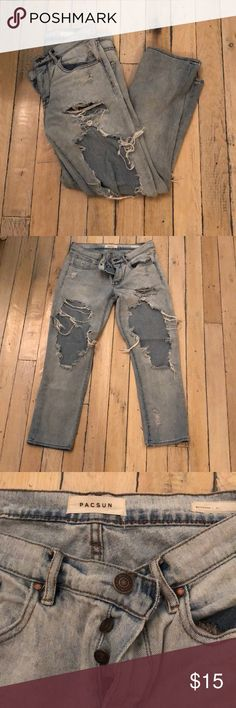 Pacsun Ripped Boyfriend Jeans Re-Poshing b/c too big of holes for my dress code. Size 26/27. Last pic is them on me (the bottoms show one side unrolled and one side rolled) PacSun Jeans Boyfriend