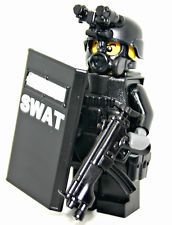 Custom SWAT Police City Officer Riot Shield Minifigure Minifig Soldier Lego Gear