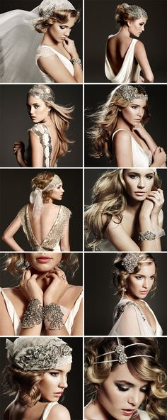 Inspired by the and old-world glamour era, with vintage-style gowns. Love the hair pieces Great Gatsby Wedding, 20s Wedding, Wedding Vintage, Mode Glamour, Wedding Hair Accessories, Vintage Accessories, Wedding Looks, Bridal Headpieces, Bridal Makeup