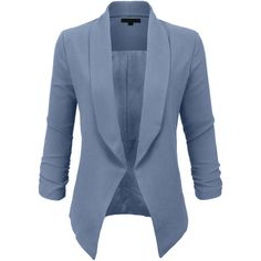 LE3NO Womens Textured 3/4 Sleeve Open Blazer Jacket ($26) ❤ liked on Polyvore featuring outerwear, jackets, blazers, textured blazer, three quarter sleeve blazer, 3/4 sleeve jacket, blue jackets and 3/4 sleeve blazer
