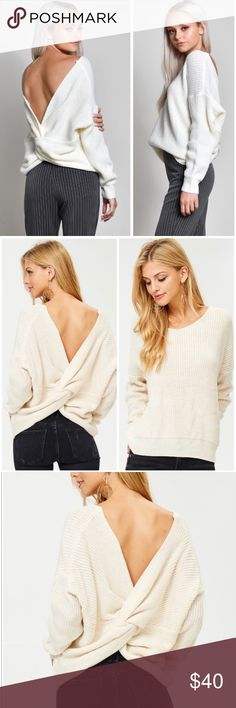 COMING SOON Back Twist Sweater Off White back twist knitted sweater. Perfect for fall, add a touch of style with this beautiful sweater. The twist can be worn in the front and in the back. Also can be worn off the shoulder if the twist is in the back. 100% Acrylic. PRICE WILL BE FIRM @ $35 Tops Sweatshirts & Hoodies