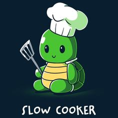 Slow Cooker T-Shirt TeeTurtle - womens small Cute Turtle Drawings, Cute Cartoon Drawings, Cute Animal Drawings, Cute Puns, Funny Puns, Funny Animals, Cute Animals, Cute Animal Quotes, Cartoon Turtle
