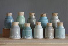 custom spice bottle set - small pottery jar with custom lettering by vitrifiedstudio - modern minimal utilitarian handmade ceramics
