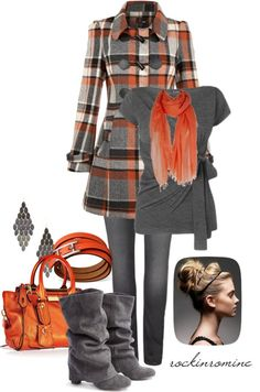 Orange and grey outfit idea Looks Chic, Looks Style, Style Me, Mode Outfits, Casual Outfits, Fashion Outfits, Womens Fashion, Fall Winter Outfits, Autumn Winter Fashion