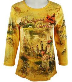 Cactus Fashion - Backyard Birds, 3/4 Sleeve, Scoop Neck Cotton Print Rhinestone Top