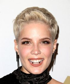 Halsey Teeth Jewelry? Short Straight Pixie Hairstyle - Light Blonde