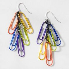 Rainbow Paper Clip Drop Earrings from Claire's--would be easy to make yourself... I just realized how many lovely colored paper clips I left at my last job.