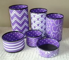 Purple Desk Accessories, Purple Chevron Desk Decor, Desk Organizer, Cute Desk Accessories, Makeup Organizer, Office Decor, Dorm Decor   THIS LISTING IS FOR ONE OR UP TO FIVE DECORATIVE CANS IN THE PATTERNS SHOWN IN THE FIRST FOUR PHOTOS. COASTER ALSO AVAILABLE WITH THIS LISTING. Items in cans are photo props only and are not included in this listing.   COLORS: These patterns may also be available in other colors including, but not limited to: yellow, lime green, orange, pink, teal, navy…
