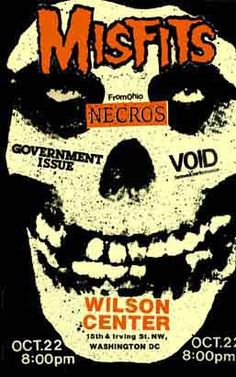 Misfits, Necros, Government Issue, Void punk hardcore flyer