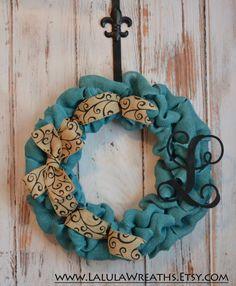 Burlap Monogram Wreath– Turquoise Burlap, Scroll Ribbon, Initial Wreath, Personalized Wreath, Burlap Wreath, Front Door Decor, Summer Wreath...
