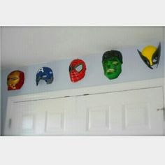 #Spiderman #hulk #ironman #heroes #nursery #masks #wallart