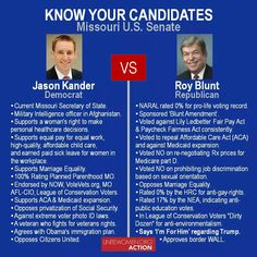 #KnowYourCandidates – Missouri U.S. Senate  Jason Kander (D)  Website: https://www.jasonkander.com/ Facebook: https://www.facebook.com/kanderformissouri/ Twitter: https://twitter.com/JasonKander  Roy Blunt (R)  Website: http://www.blunt.senate.gov/public/ Facebook: https://www.facebook.com/SenatorBlunt Twitter: https://twitter.com/RoyBlunt #ElectionsMatter