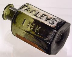 Old ink bottle. Antique Glass Bottles, Mini Bottles, Vintage Bottles, Bottles And Jars, Love Jar, Crystal Glassware, Fountain Pen Ink, Glass Collection, Bottle Labels