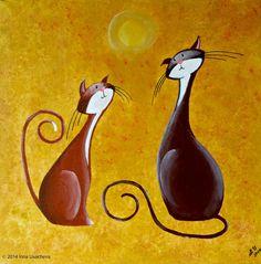 Original fantasía gato la pintura de acrílico por NaturelandsAndCo