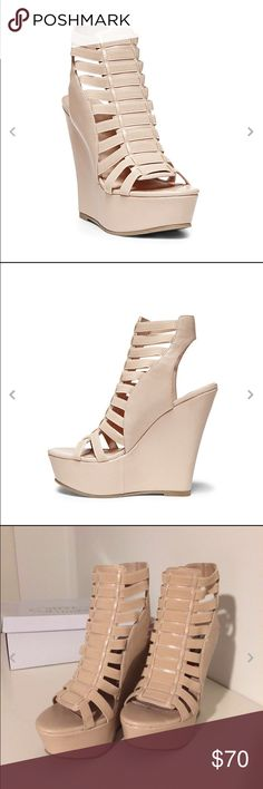 """Blush Steve Madden Wedges Steve Madden """"Jossiee"""" Leather Cage Wedge Heels in color Blush. EUC. Size 5, with 5"""" heel and 1.5"""" platform. Slide on style. Steve Madden Shoes Wedges"""