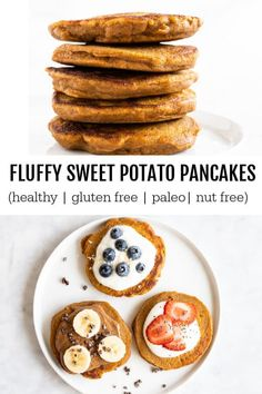 Fluffy Sweet Potato Pancakes (gluten free and paleo) – Savory Lotus Fluffy Sweet Potato Pancakes. Healthy and delicious pancakes that they whole family will love Savory Breakfast, Healthy Breakfast Recipes, Healthy Recipes, Pancake Recipes, Healthy Food, Waffle Recipes, Gluten Free Pancakes, Tasty Pancakes, Buttermilk Pancakes