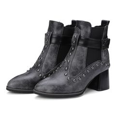 Patchwork Plain Round Toe Ankle Boots