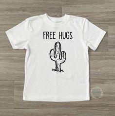 Funny Boy Shirt-Cute Boy Shirt-Cute Girl Shirt-Cute Kid Shirt-Cactus Tee-Cactus Kid Shirt-Cactus Free Hugs Shirt-Free Hugs Kid Tee by DesignsByANM on Etsy
