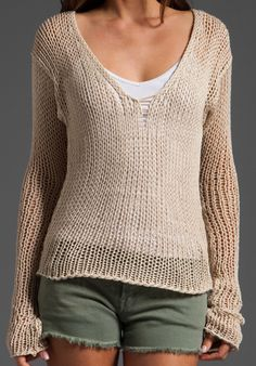 EVER Venice Pull Over Sweater in Raw White