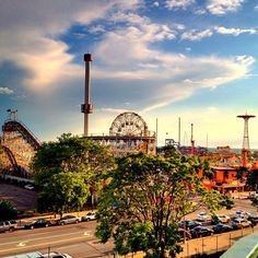 Luna Park's Astro Tower, Cyclone Roller Coaster, Deno's Wonder Wheel and the Parachute Jump at Coney Island.