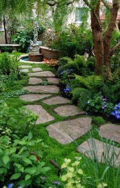 40 Diy Garden Ideas On A Budget 77 Small Backyard Landscaping Ideas On A Bud 21 Homevialand 8 Diy Garden, Shade Garden, Dream Garden, Moss Garden, Garden Stones, Herb Garden, Garden Bed, Garden Planters, Wooden Garden