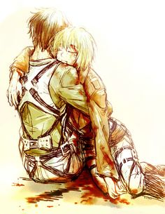 Eren Jaeger and Armin Arlert. This is sad. Mikasa, Eren, and Armin are great friends! It would be heartbreaking to lose one.