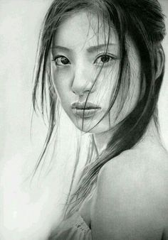 Photograph--Impressive pencil drawings by the UK based graphite artist Ken Lee or also known as KLSADAKO in dA. Ken specializes in drawing beautiful Asian women portraits with rich details in the use of shadows and light. Realistic Pencil Drawings, Pencil Art, Hyperrealism, Female Portrait, Amazing Art, Realistic Art, Art, Portrait, Love Art