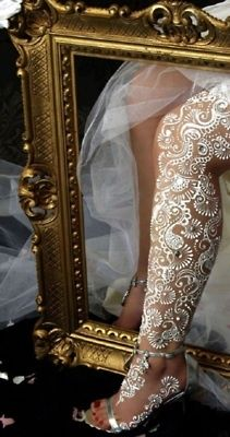 WOW!!  <3 Wedding Inspired White Henna Tattoo (Lace). LOVE this idea for ANY special occasion!!