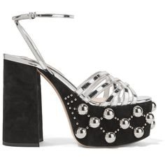 Miu Miu Metallic leather and studded suede platform sandals ($990) ❤ liked on Polyvore featuring shoes, sandals, black, high heel platform sandals, black leather sandals, strappy sandals, black sandals and strappy high heel sandals