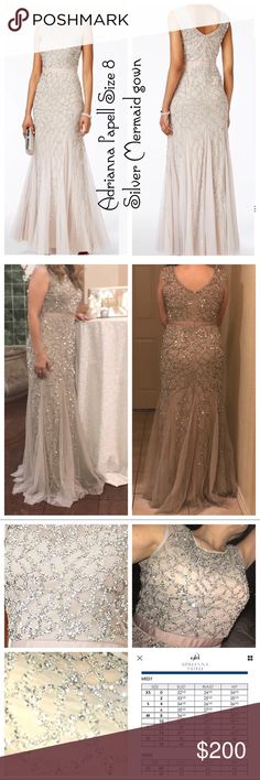 NWT $359 Adrianna Papell size 8 mermaid dress NWT silver/grey embellished Adrianna Papell size 8 mermaid gown WITH DEFECTS (sum missing stones to left front middle chest area-not noticeable and has added beads to sew) tags n spare stones/gems to restore if needed. Smoke free dress. Used once to wedding for 2 hours. Reasonable Offers welcomed!  Stock photos are not reflective of color. My own pics are more accurate in the silvery/grey color it is n is gorgeous.  ADRIANNA PAPELL NEW SILVER…