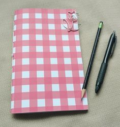 Pink/White Gingham Traveler's Insert/Midori Refill/Sketchbook- Passport/Field Notes/Personal/B6/Slim/A6/Standard- Lined/Graph/Blank - #0153 by ThreeTreeWhimsy on Etsy