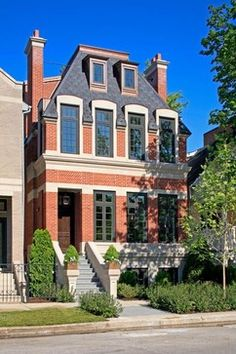 Recessed Entry Traditional City House Exterior - traditional - Exterior - Chicago - Burns and Beyerl Architects
