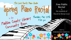 Ad for our piano studio's recital at the Madison County Library in Rexburg, Idaho. Local Library, County Library, Rexburg Idaho, Piano Recital, Retractable Banner, Free Piano, Madison County, Music Ed, Banner Stands