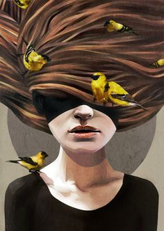 Girl with finches by Ruben Ireland