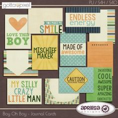Boy Oh Boy - Digital Scrapbook Journal Cards at Gotta Pixel. www.gottapixel.net/