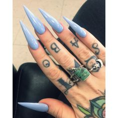 baby blue long stiletto nails