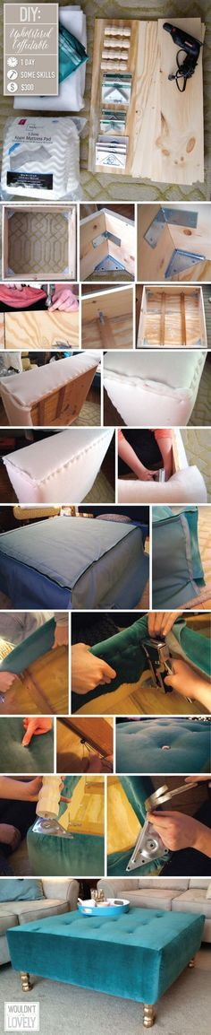 DIY upholstered ottoman, How to build your own coffee table, DIY tufting, velvet ottoman, DIY home decor, DIY furniture, Wouldn't it be | http://homedesigns.lemoncoin.org