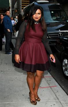 """Celebrity Curvy Girl inspiration from Mindy Kaling """"love her in this oxblood and black dress with black polkadot shirt. - This is just beautiful with her skin color"""""""