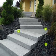 New Concrete Stairs Outdoor Landscaping 44 Ideas Front House Landscaping, Landscaping Retaining Walls, Front Walkway, Outdoor Landscaping, Terraced Landscaping, Granite Stairs, Tile Stairs, Concrete Stairs, Outdoor Steps