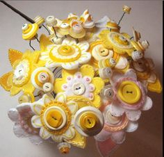 yellow felt and button bouquet