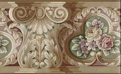 Victorian Rose Wallpaper Border | Details about VICTORIAN ARCHITECTURAL TRIM WITH ROSES WALLPAPER BORDER