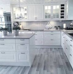 White kitchen is never a wrong idea. The elegance of white kitchens can always provide . Elegant White Kitchen Design Ideas for Modern Home Kitchen Decor, Home Decor Kitchen, Kitchen Flooring, Kitchen Room Design, Home Kitchens, Kitchen Remodel Small, Kitchen Room, Modern Kitchen Room, Kitchen Renovation