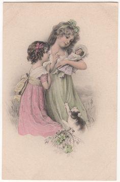 Two Girls Admire A Doll Vintage Art Postcard